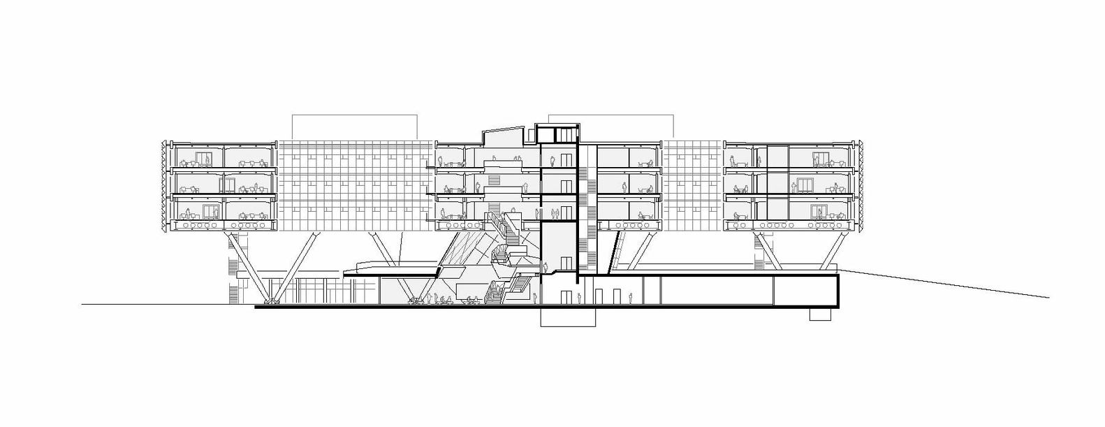 برش A-A ساختمان اداری آدیداس