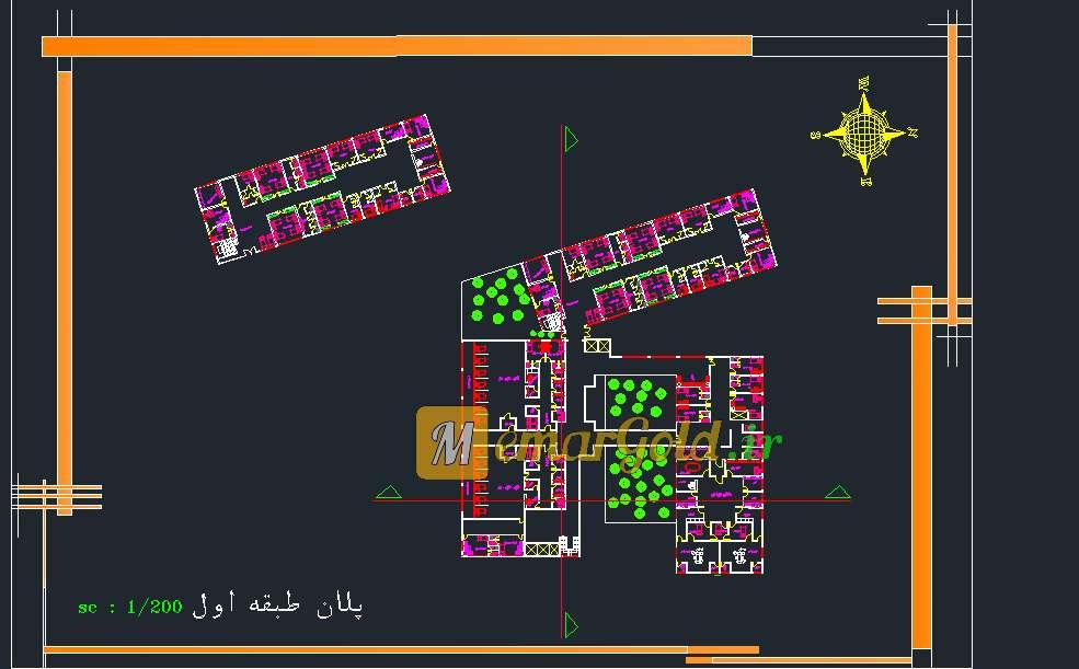نقشه بیمارستان عمومی سه طبقه