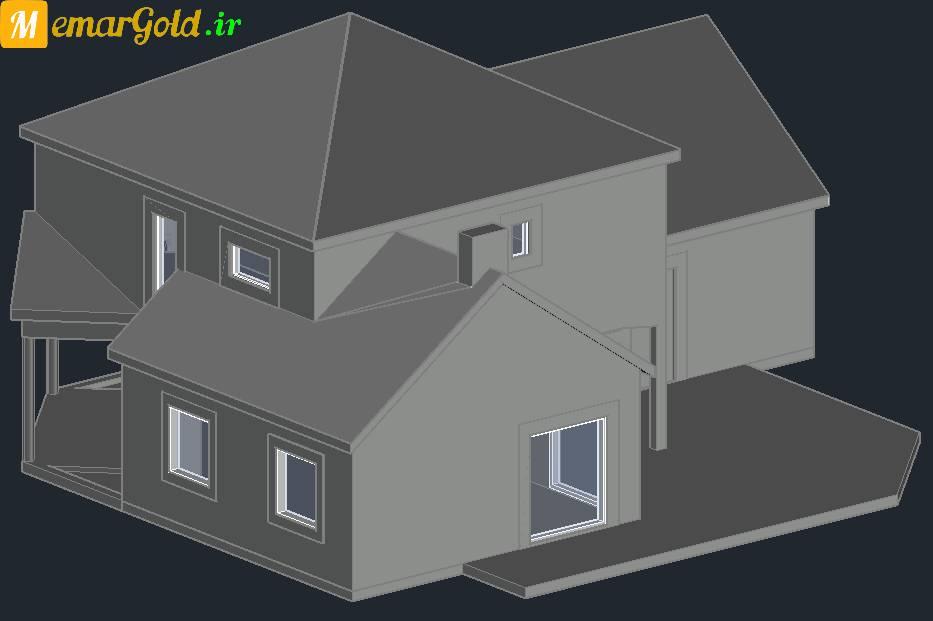 دانلود مدل ویلا سه بعدی اتوکد ( سقف شیبدار )