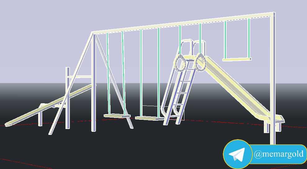 مدل سه بعدی مبلمان شهربازی در اتوکد
