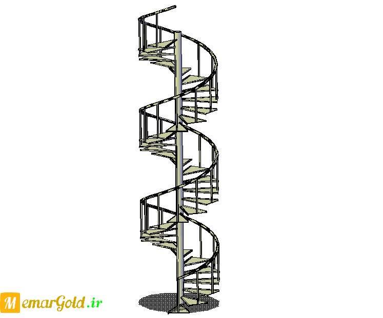 مدل سه بعدی راه پله گرد