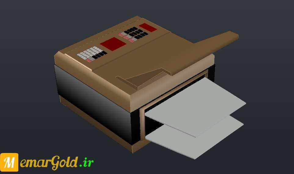دانلود آبجکت سه بعدی تلفن پرینتر و تلفکس اتوکد